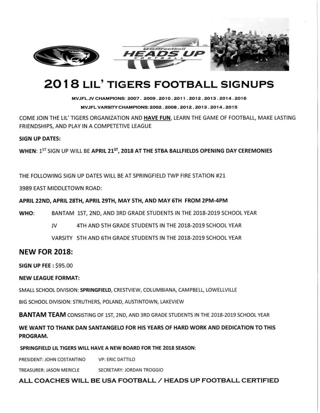 2018 Lil Tiger sign up flyer